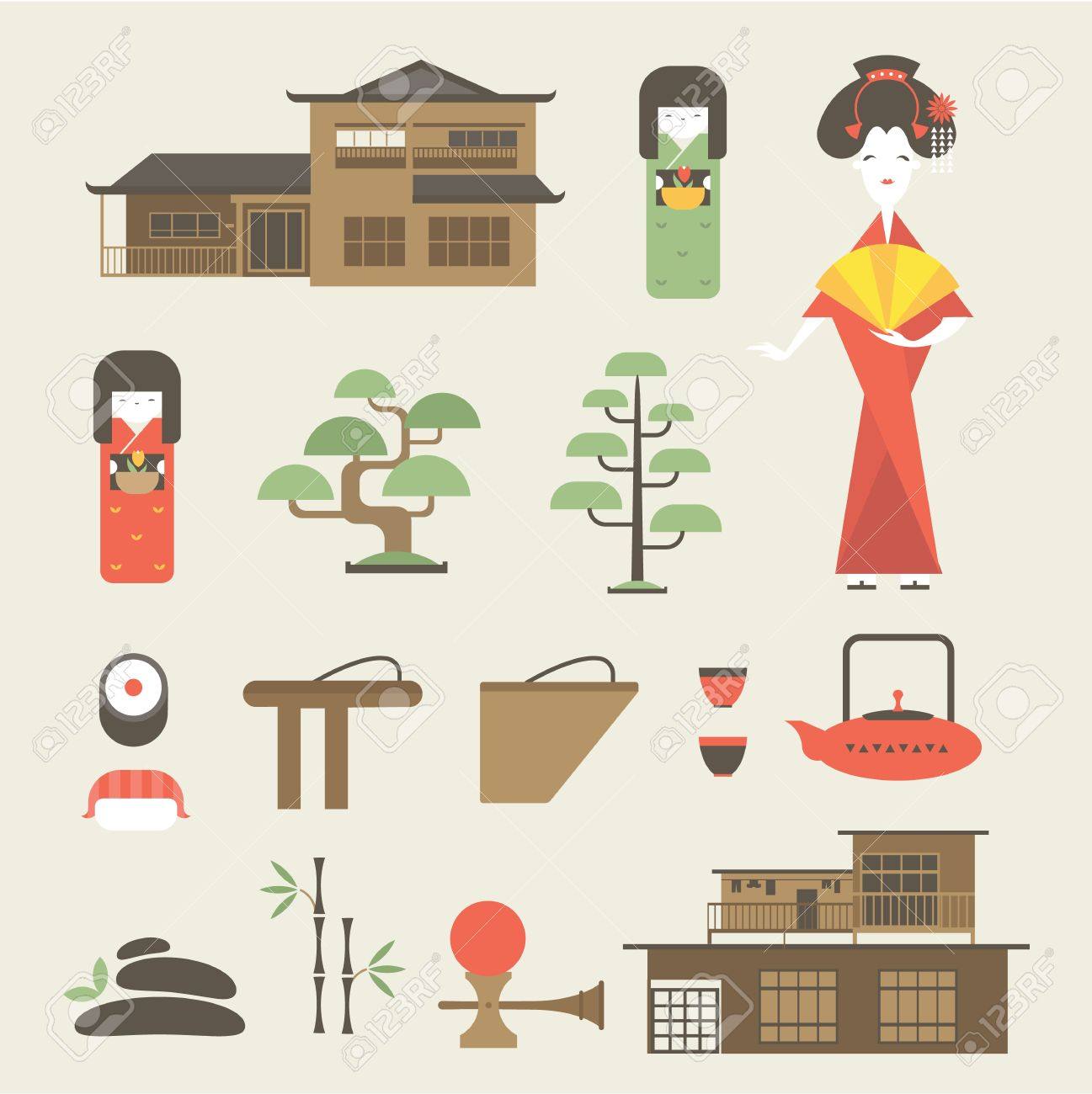 Japanese traditional house clipart jpg freeuse Set Of Various Stylized Japanese Icons Royalty Free Cliparts ... jpg freeuse