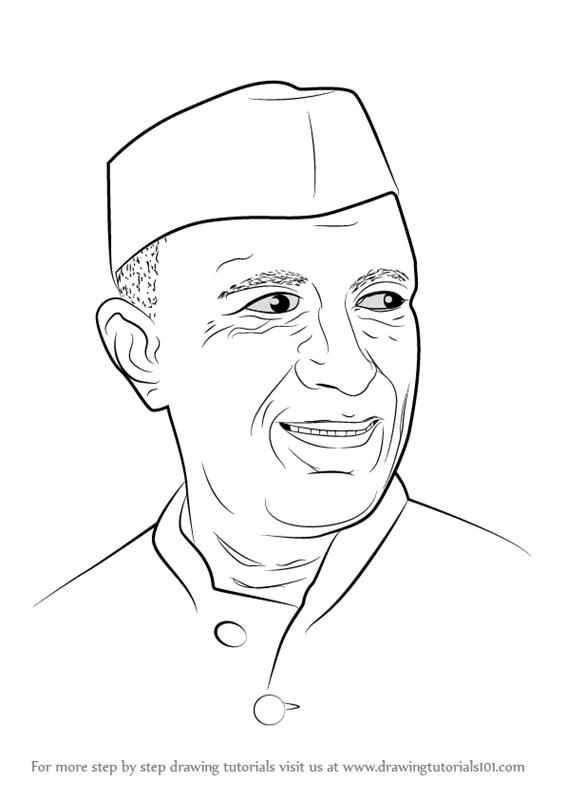 Jawaharlal nehru clipart jpg free stock Learn How to Draw Jawaharlal Nehru (Politicians) Step by Step ... jpg free stock