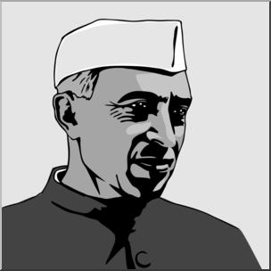 Jawaharlal nehru clipart image free Clip Art: India: Jawaharlal Nehru Grayscale I abcteach.com | abcteach image free