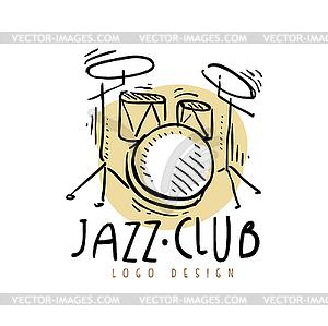 Jazz logo clipart jpg Jazz club logo design, vintage music label with dru - vector clipart jpg