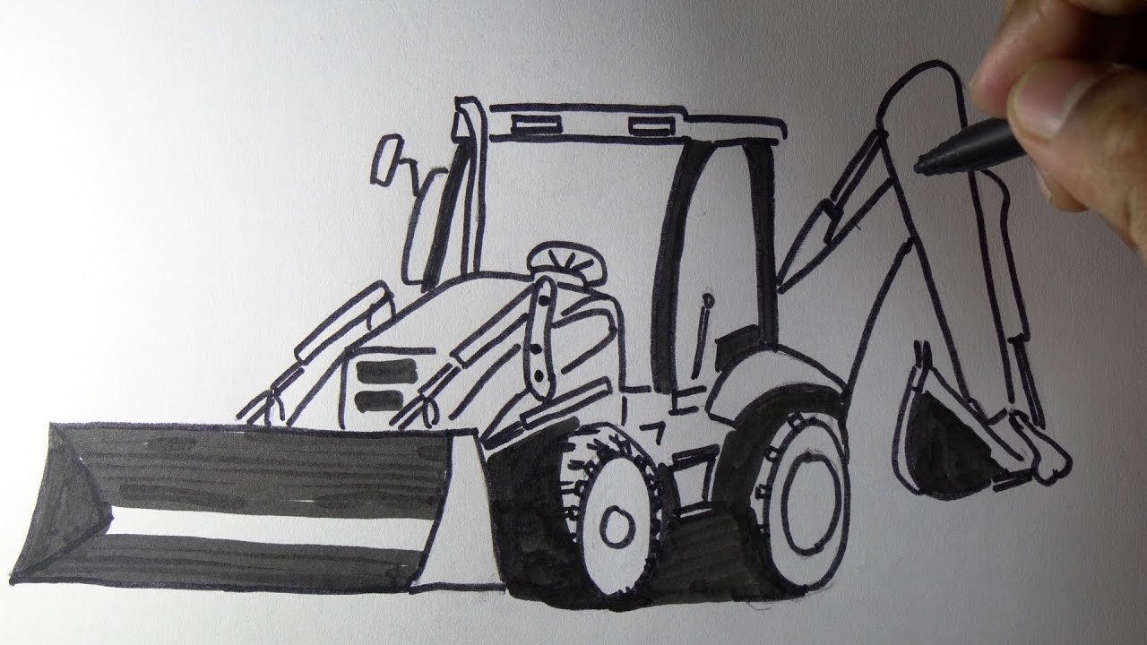Jcp clipart clip library How to draw a JCB backhoe loader machine Drawing. clip library