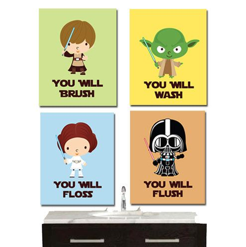 Jedi mind tricks clipart freeuse library Star Wars Bathroom Wall Art - Jedi Mind Trick - Bathroom Rules ... freeuse library