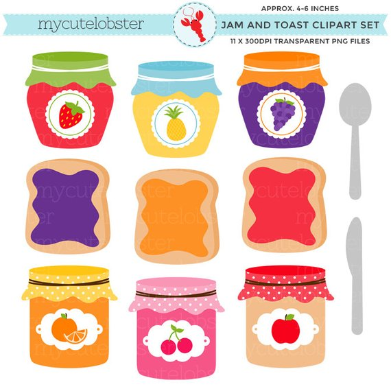 Jelly jar clipart clip black and white stock Jam & Toast Clipart Set - jam jars clip art set, toast ... clip black and white stock