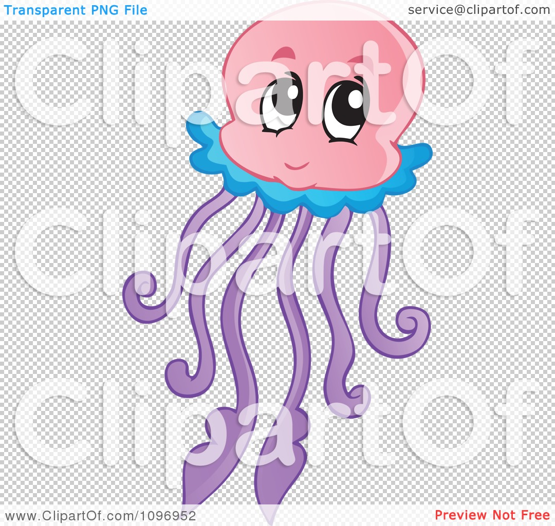 Jellyfish clipart png transparent background jpg transparent Clipart Happy Cute Jellyfish - Royalty Free Vector Illustration by ... jpg transparent
