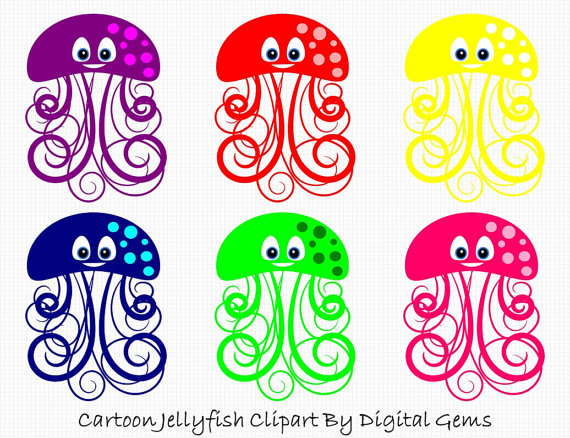 Jellyfish clipart png transparent background jpg royalty free Under The Sea Clip Art, Ocean Digital ClipArt, Bright Cute Fishes ... jpg royalty free