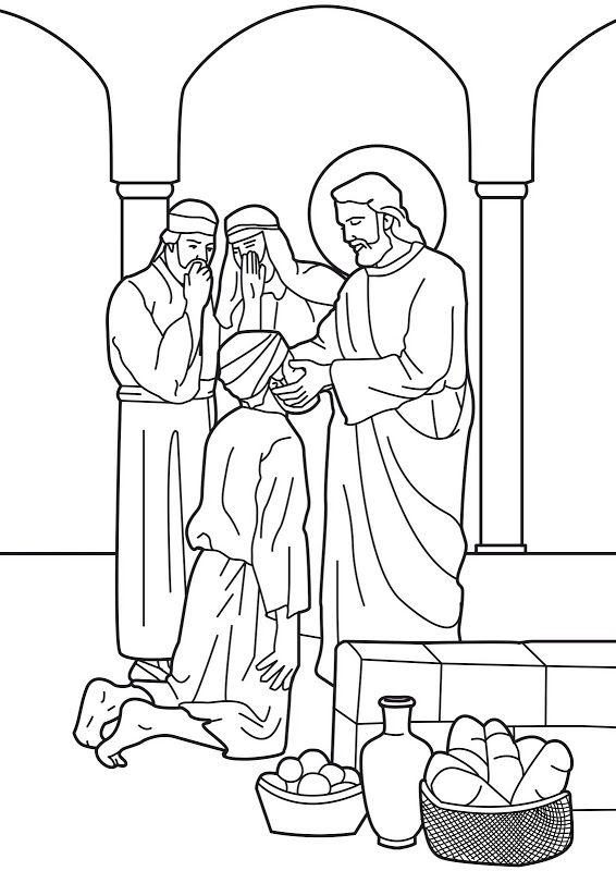 Jesus and blind beggar black & white clipart picture free download Jesus heals the man born blind. Bible coloring page | Bible Clip ... picture free download