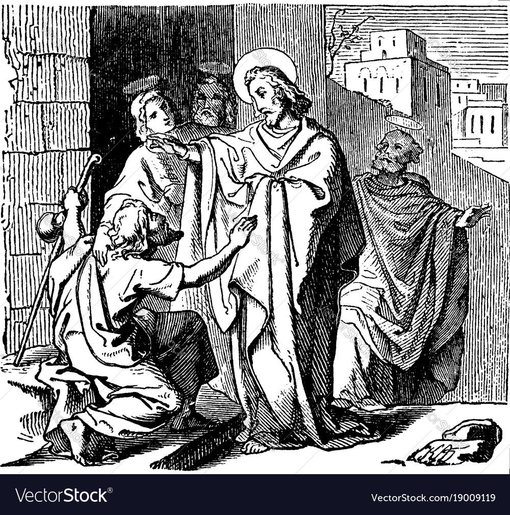 Jesus and blind beggar black & white clipart jpg transparent download Jesus heals a blind beggar named bartimaeus at jpg transparent download