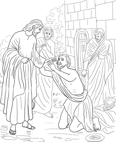 Jesus and blind beggar black & white clipart svg black and white library Jesus Heals Blind Bartimaeus coloring page | Free Printable Coloring ... svg black and white library