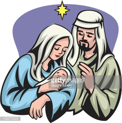 Jesus and mary clipart picture royalty free download A Portrait Of Mary Joseph And Jesus Under The Star Of Bethlehem ... picture royalty free download