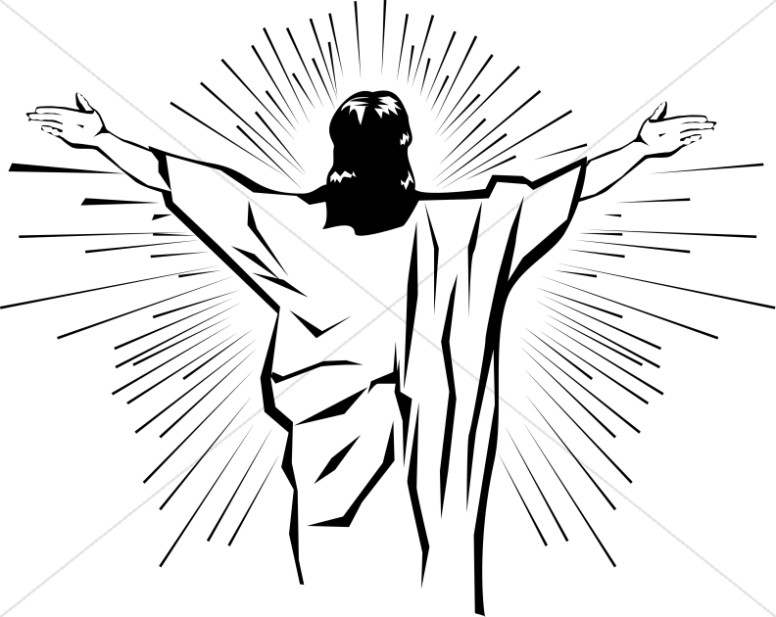 Jesus arms open clipart black and white clip art black and white library Black and White Jesus from Behind | Jesus Clipart clip art black and white library