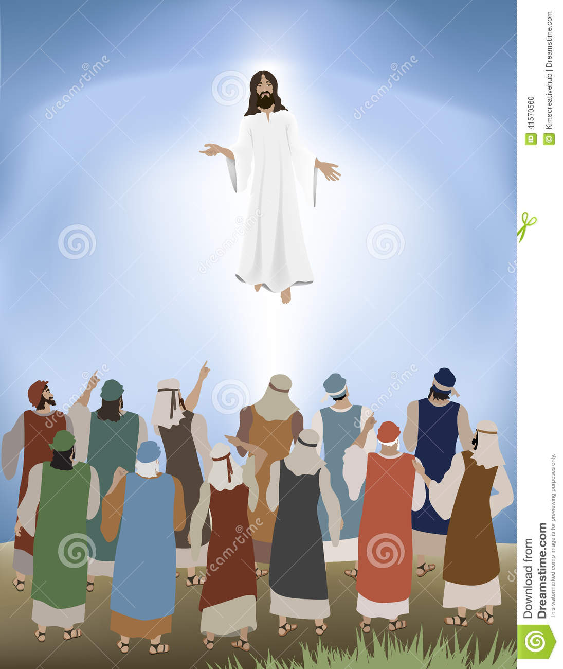 Jesus ascending toheaven clipart picture library library Jesus Ascends Stock Vector - Image: 41570560 picture library library