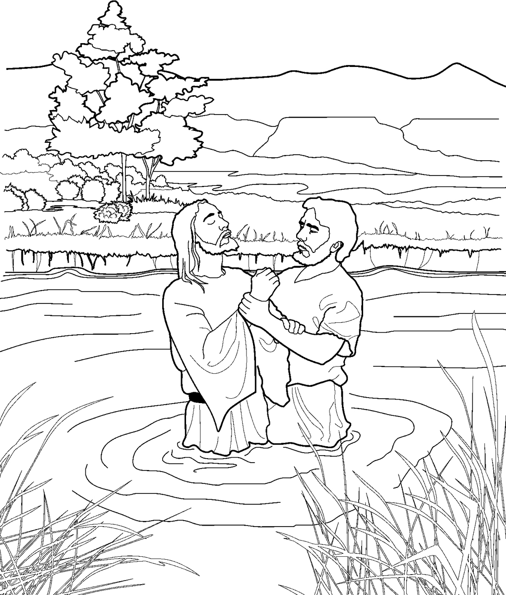 Jesus baptism black & white clipart transparent John Baptizing Jesus Coloring Page transparent