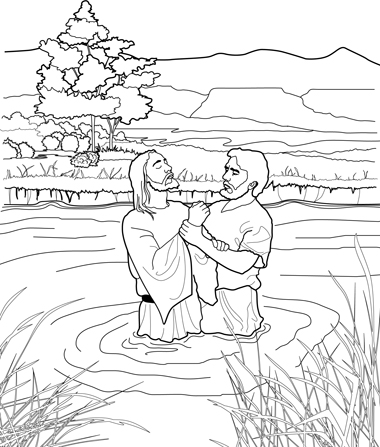 Jesus being baptized black and white clipart clip stock John Baptizing Jesus Coloring Page clip stock