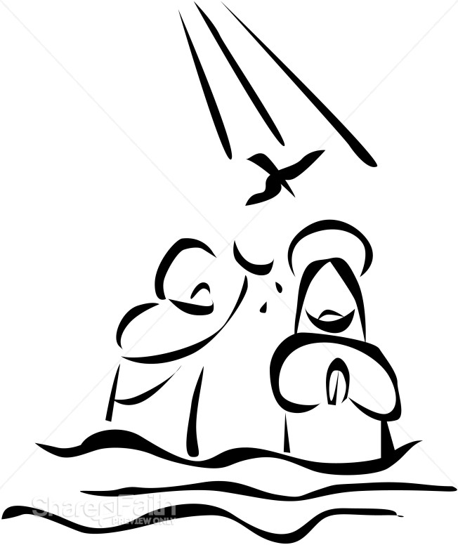 Jesus being baptized black and white clipart image black and white Jesus is Baptized in the River and is Visited by the Holy Spirit ... image black and white