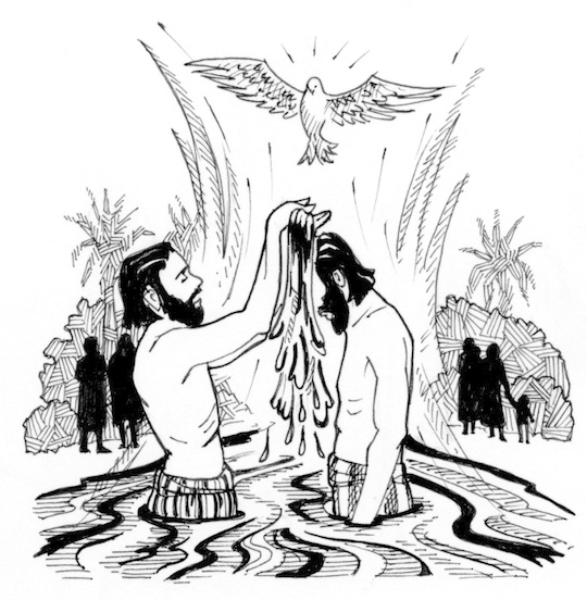 Jesus being baptized black and white clipart png black and white stock The Baptism Of The Lord | Saint Mary\'s Pre #117818 - Clipartimage.com png black and white stock