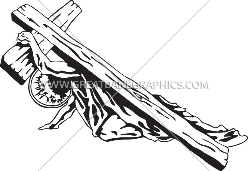 Jesus Carrying the Cross | Production Ready Artwork for T-Shirt Printing banner black and white