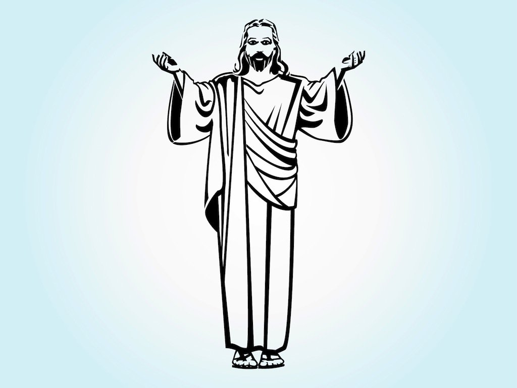 Jesus clipart black and white full body royalty free library Jesus Christ Vector Art & Graphics   freevector.com royalty free library
