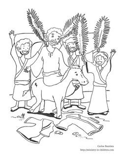Jesus enters jerusalem black and white clipart jpg library library This free coloring sheet shows Jesus riding into Jerusalem on a ... jpg library library