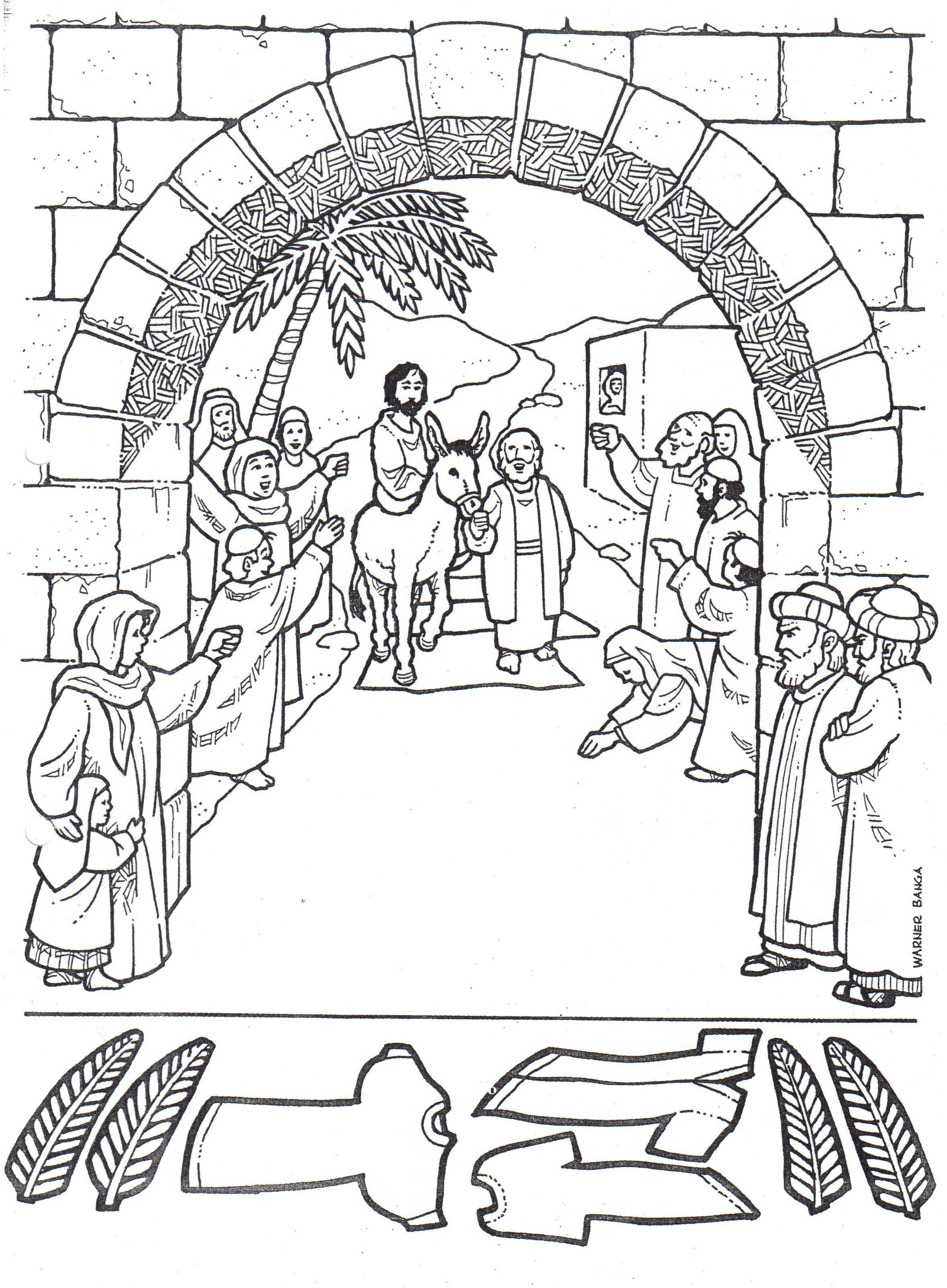 Jesus enters jerusalem black and white clipart clip black and white library Jesus Enters Jerusalem In This Palm Sunday Coloring Page For ... clip black and white library