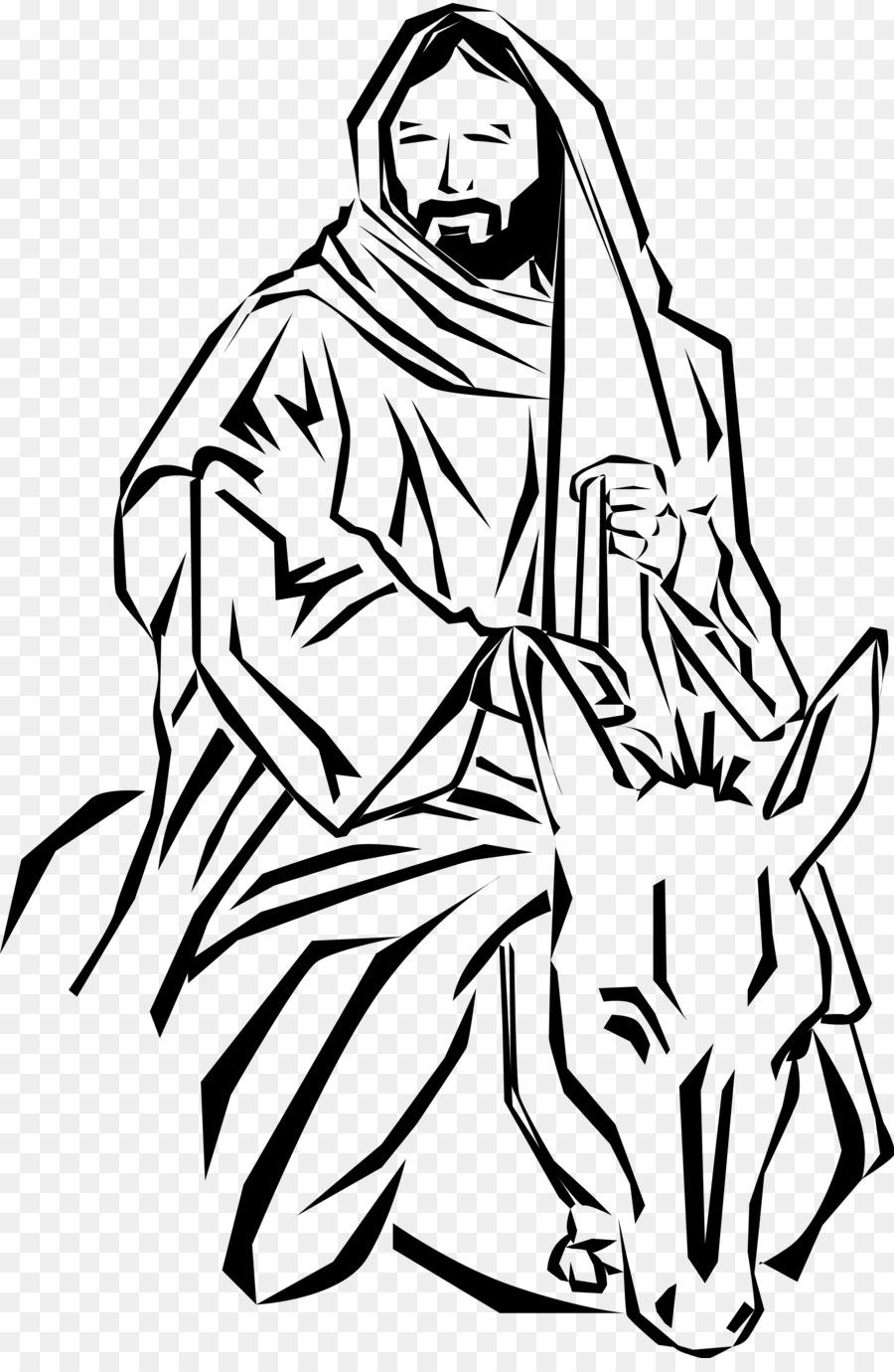 Jesus enters jerusalem black and white clipart jpg black and white Palm Sunday Donkey png download - 2175*3300 - Free Transparent ... jpg black and white