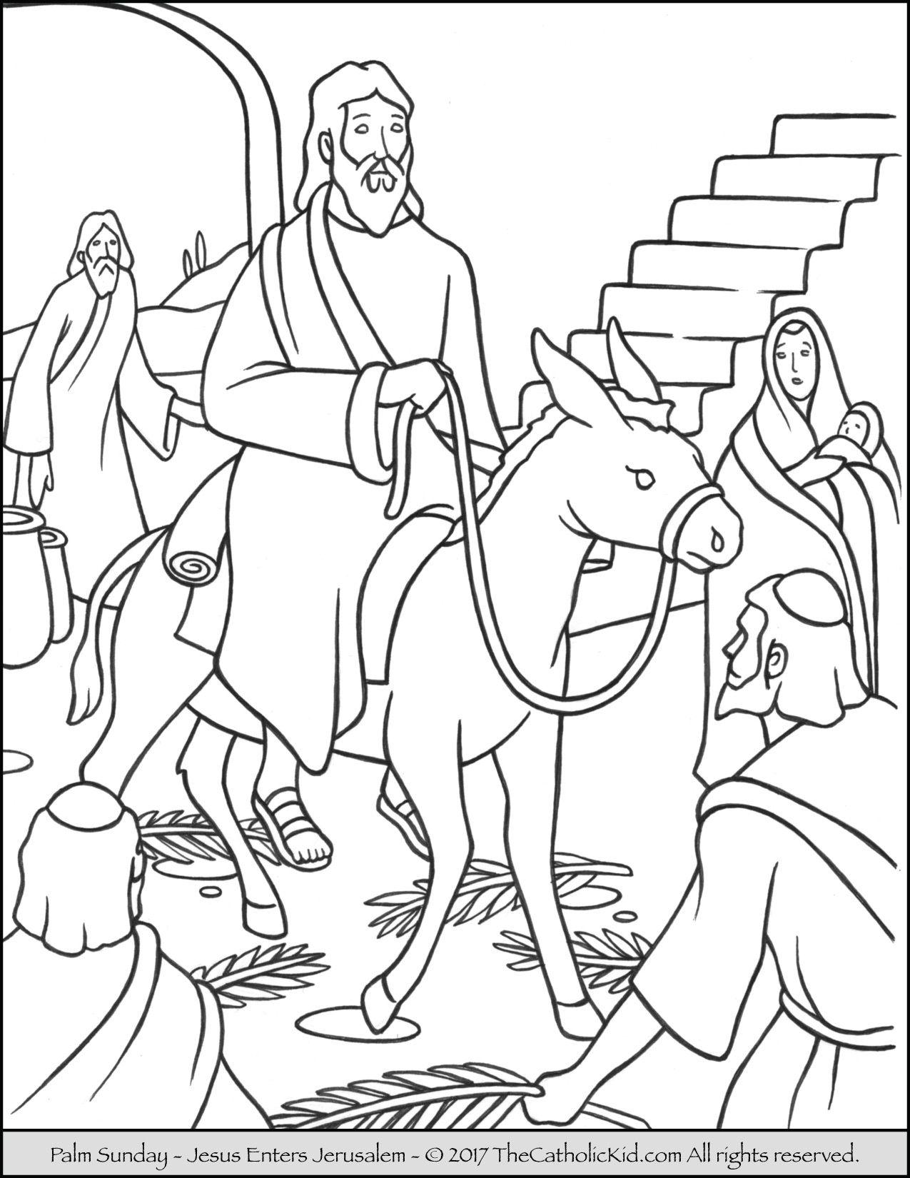 Jesus enters jerusalem black and white clipart png transparent Jesus enters Jerusalem in this Palm Sunday coloring page. | Catholic ... png transparent