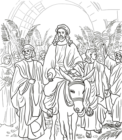 Jesus enters jerusalem black and white clipart graphic black and white Jesus Entry Into Jerusalem coloring page | Free Printable Coloring Pages graphic black and white