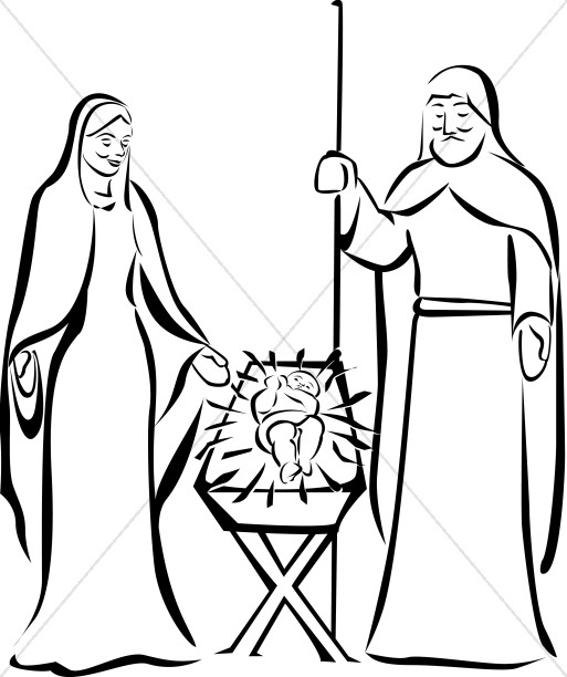 Jesus in a manger black and white clipart vector freeuse Jesus in the Manger   Manger Clipart vector freeuse
