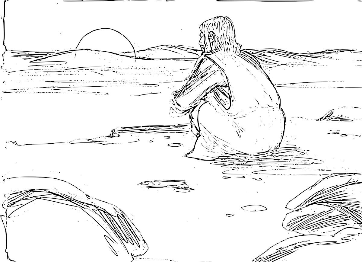 Jesus in the desert black and white clipart clip royalty free download Is Tempted In The Desert Coloring Pages #128588 - Clipartimage.com clip royalty free download