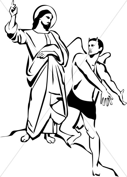 Jesus in the desert black and white clipart image library stock Jesus Chooses the Kingdom of God | Temptation of Christ Clipart image library stock