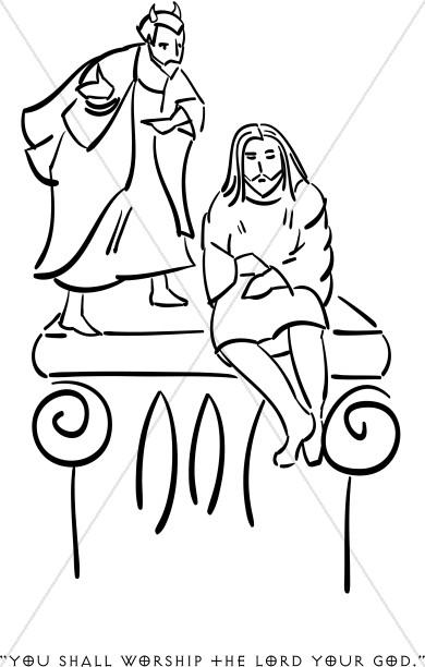 Jesus in the desert black and white clipart svg freeuse stock Satan Tempts Jesus | Temptation of Christ Clipart svg freeuse stock
