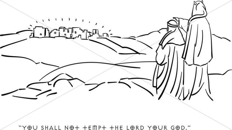 Jesus in the desert black and white clipart clipart transparent download Satan Tempts Jesus | Temptation of Christ Clipart clipart transparent download