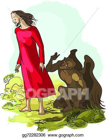 Jesus in the wilderness clipart svg library stock Vector Art - Temptation of jesus christ. EPS clipart gg72282306 ... svg library stock