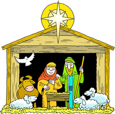 Jesus is born clipart jpg black and white download Image: A Star Over a Manger with Mary Joseph Baby Jesus and Animals ... jpg black and white download