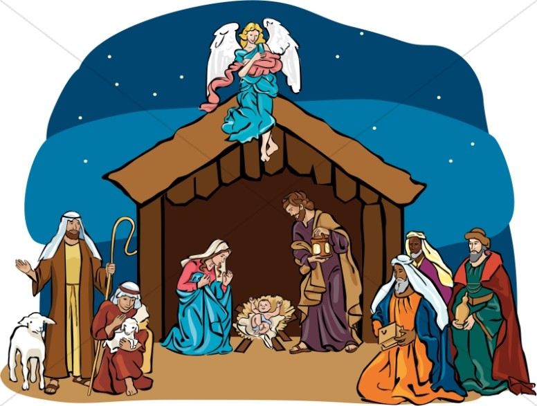 Nativity pictures clipart jpg transparent library Nativity Scene with Angel Overhead | Nativity Clipart jpg transparent library