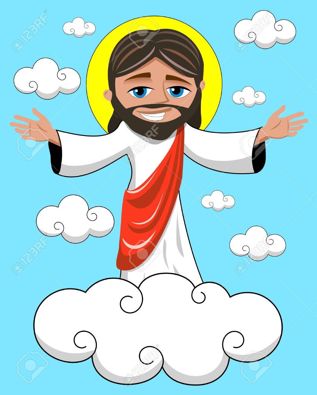 Jesus kingdom clipart vector transparent Cartoon Smiling Jesus Opens His Hands In Heavenly Kingdom Royalty ... vector transparent