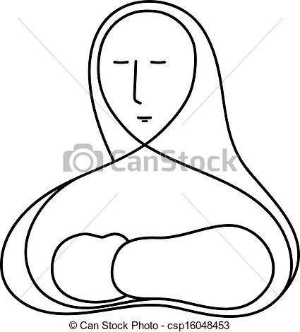 Jesus mary clipart clip royalty free library Clipart Vector of Mother Mary and Baby Jesus - A vector line ... clip royalty free library