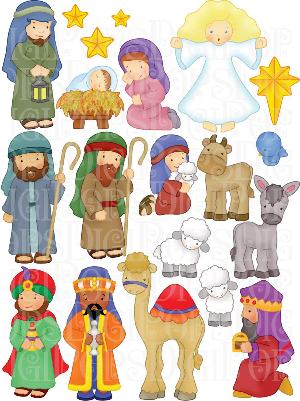 Jesus mary joseph christmas clipart image freeuse Mary and baby jesus | Etsy image freeuse