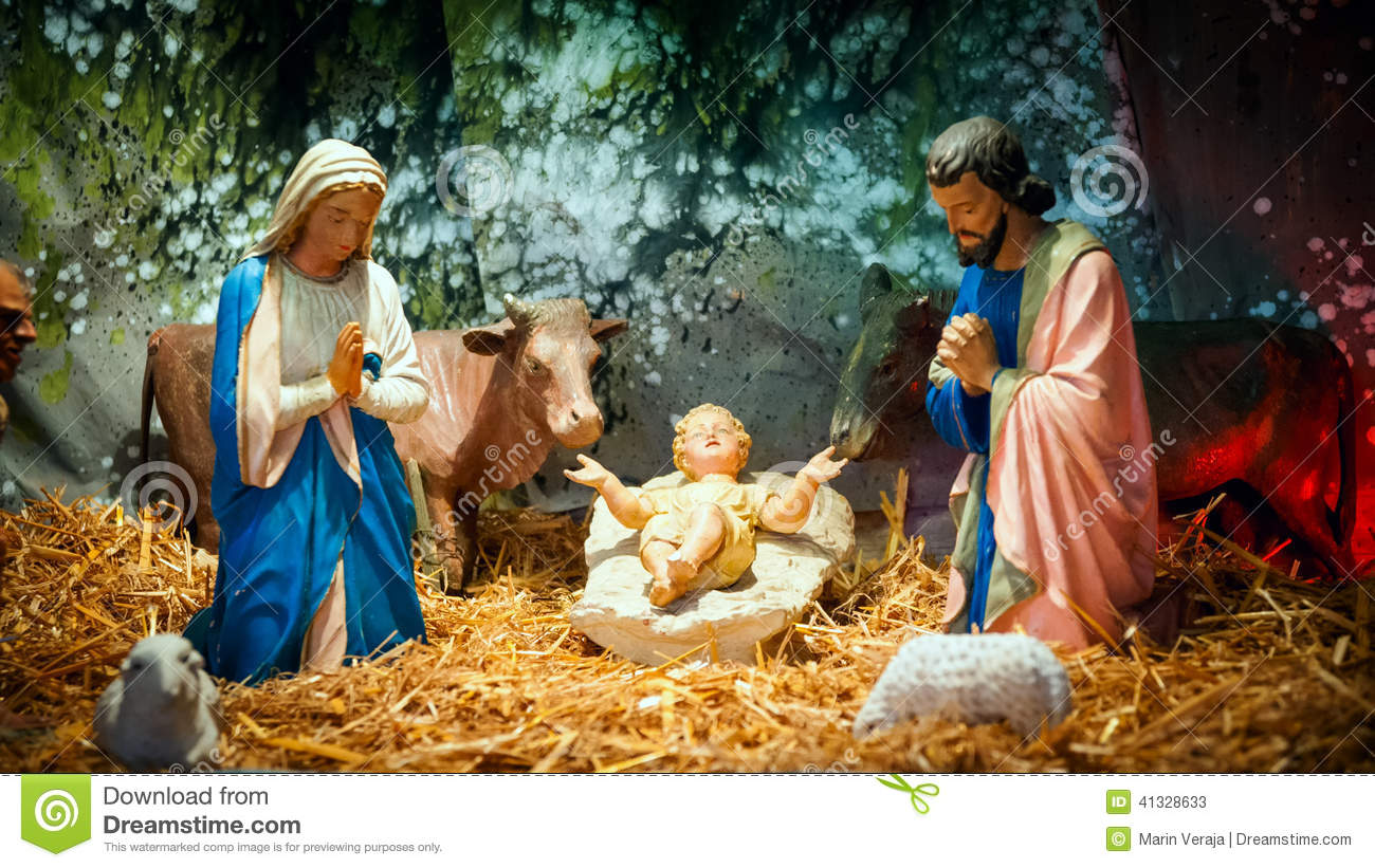 Jesus mary joseph christmas clipart vector library Christmas Nativity Scene With Baby Jesus, Mary & Joseph Stock ... vector library