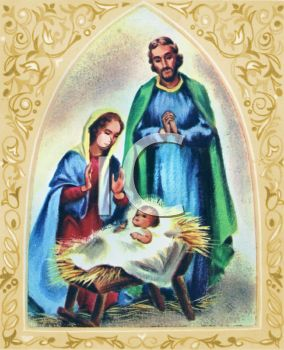 Jesus mary joseph christmas clipart image library download Mary and Joseph with Baby Jesus Nativity Scene - Royalty Free Clip ... image library download