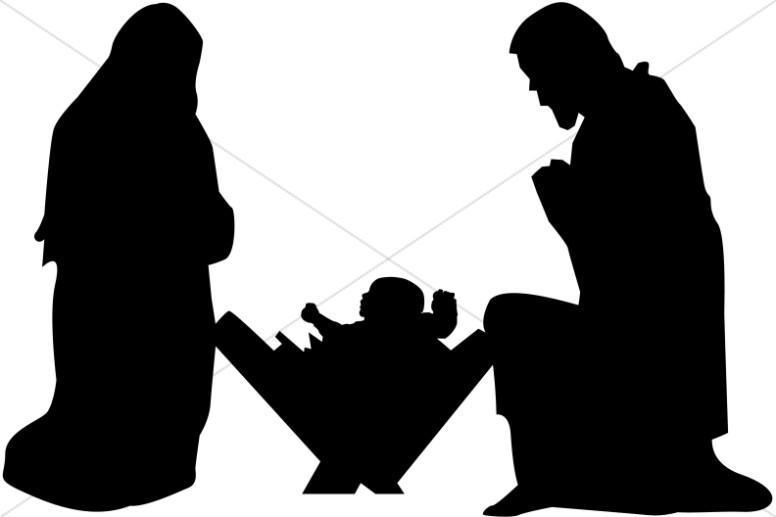 Jesus mary joseph clipart jpg library library Mary, Joseph and Baby Jesus Silhouette | Nativity Clipart jpg library library