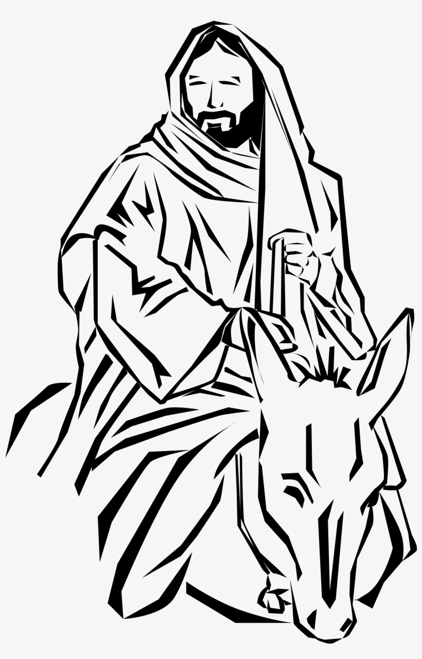 Jesus on donkey clipart svg royalty free library Jesus On Donkey Png Black And White & Free Jesus On Donkey Black And ... svg royalty free library