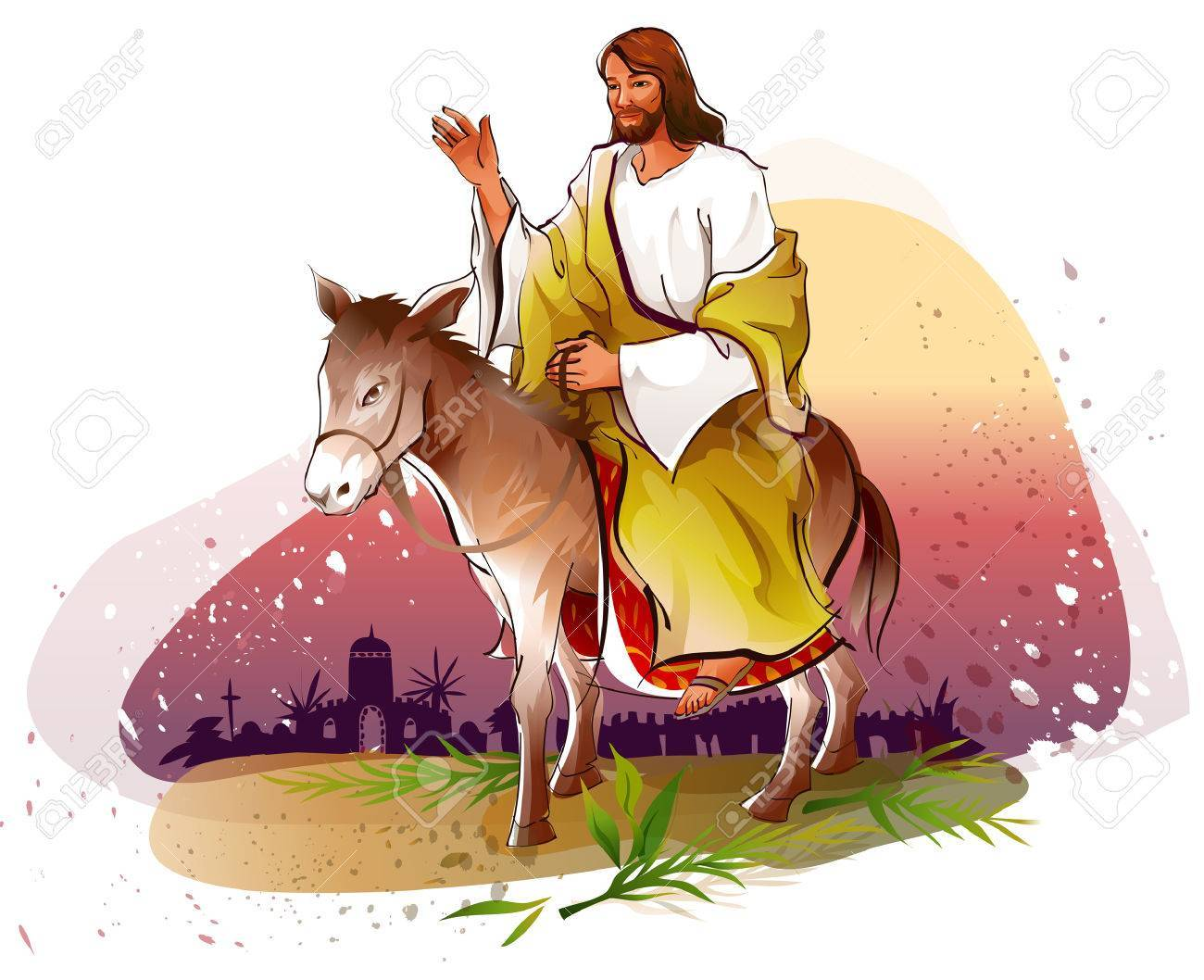 Jesus on donkey clipart clipart royalty free library Jesus donkey clipart 3 » Clipart Portal clipart royalty free library