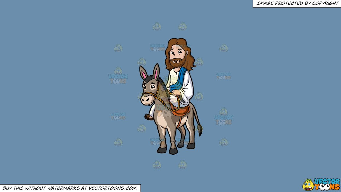 Jesus on donkey clipart clip library library Clipart: Jesus Riding A Donkey on a Solid Shadow Blue 6C8Ead Background clip library library