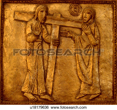 Jesus on the cross with mary clipart svg stock Stock Images of Stations of the Cross number four Jesus carrying ... svg stock