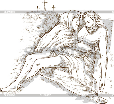 Jesus on the cross with mary clipart jpg stock Jesus on cross with mary clipart - ClipartFest jpg stock