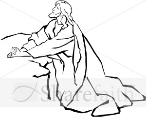 Jesus prays in garden clipart black and white transparent stock Jesus in the Garden of Gethsemane in Black and White | Jesus Clipart transparent stock