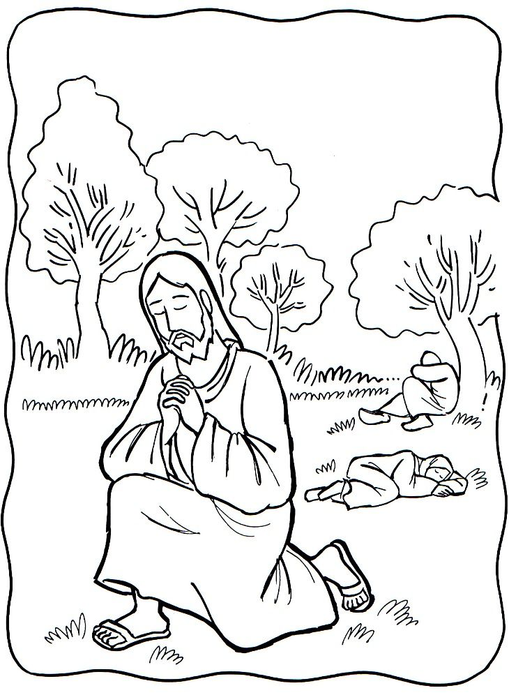 Jesus prays in garden clipart black and white banner Praying Hands Coloring Page | sondagskool | Bible coloring pages ... banner