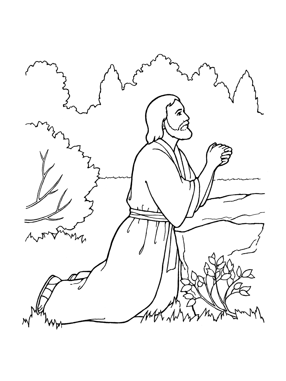 Jesus prays in garden clipart black and white vector 3rd Article of Faith—Atonement vector