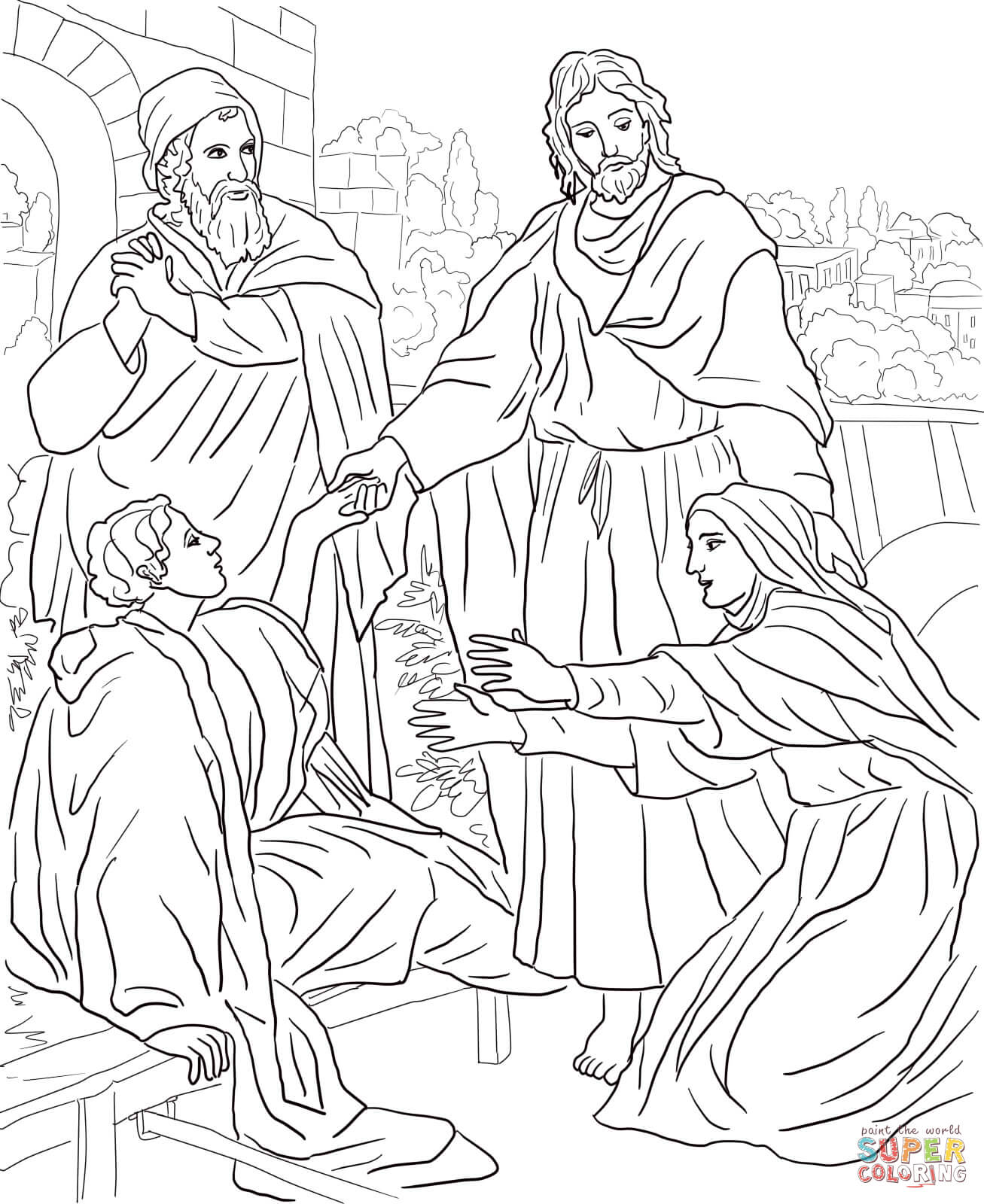 Jesus raised lazarus from the dead clipart jpg freeuse Jesus Raises Lazarus from the Dead coloring page | Free Printable ... jpg freeuse