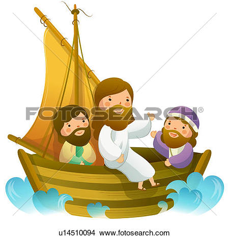 Jesus row boat clipart banner freeuse Drawings of Jesus Christ sitting with two men on a sailboat ... banner freeuse